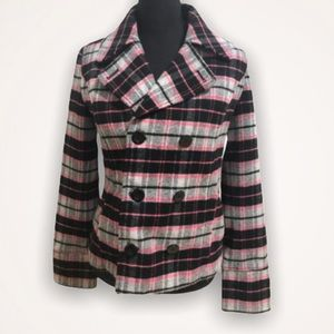 PINK VS Plaid Double Breasted Pea Coat